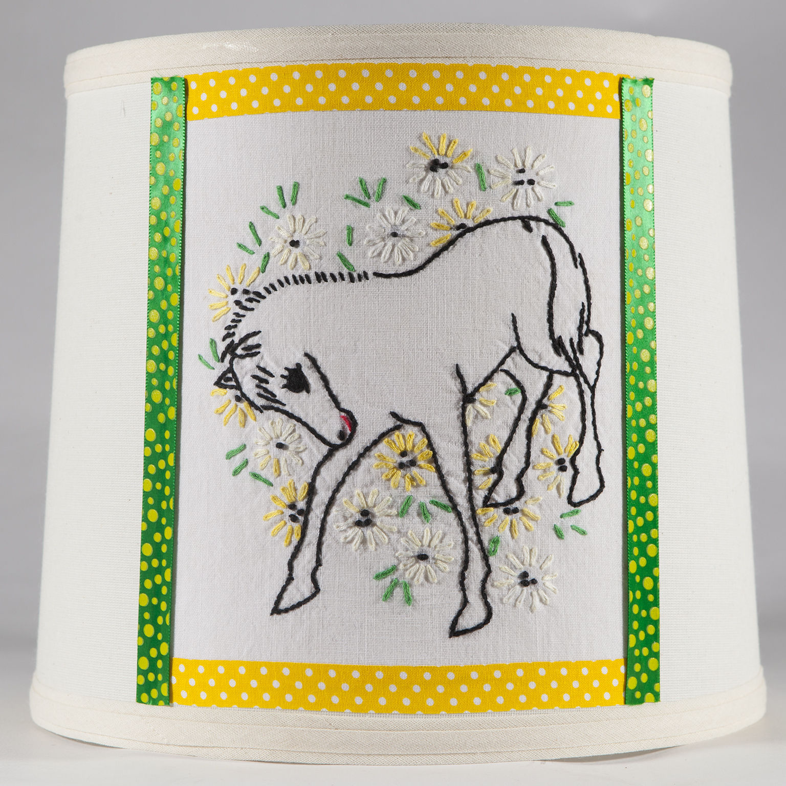 Vintage Hand Embroidered Horse Quilt Piece On New Lamp Shade - Free Shipping