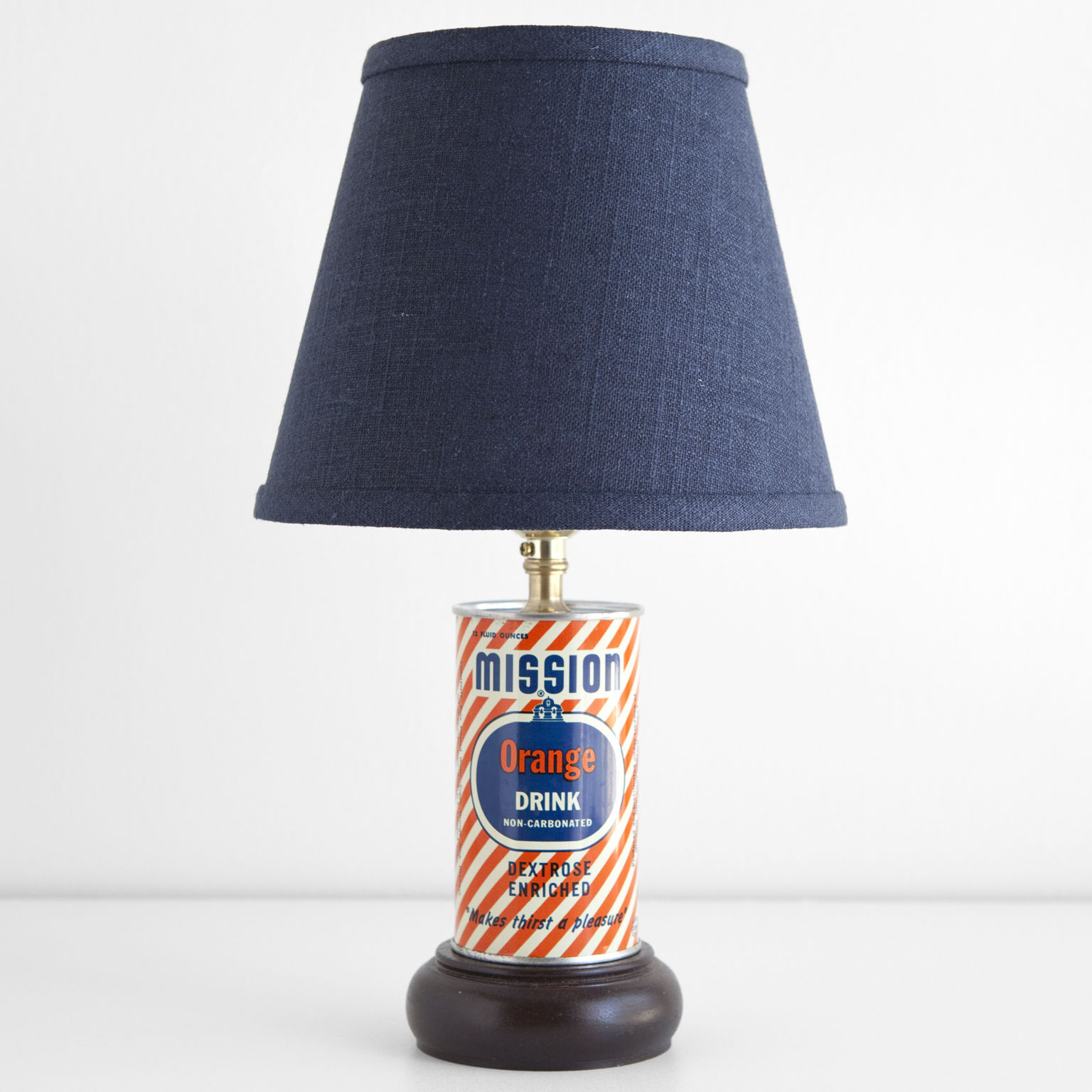 Small Vintage Mission Orange Drink Unique Accent Lamp with Blue Shade -Free Ship