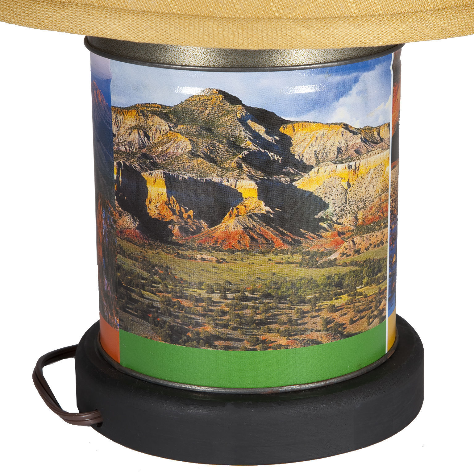 Upcycled Vintage Landscape Metal Caddy Lamp with New Yellow Fabric Shade