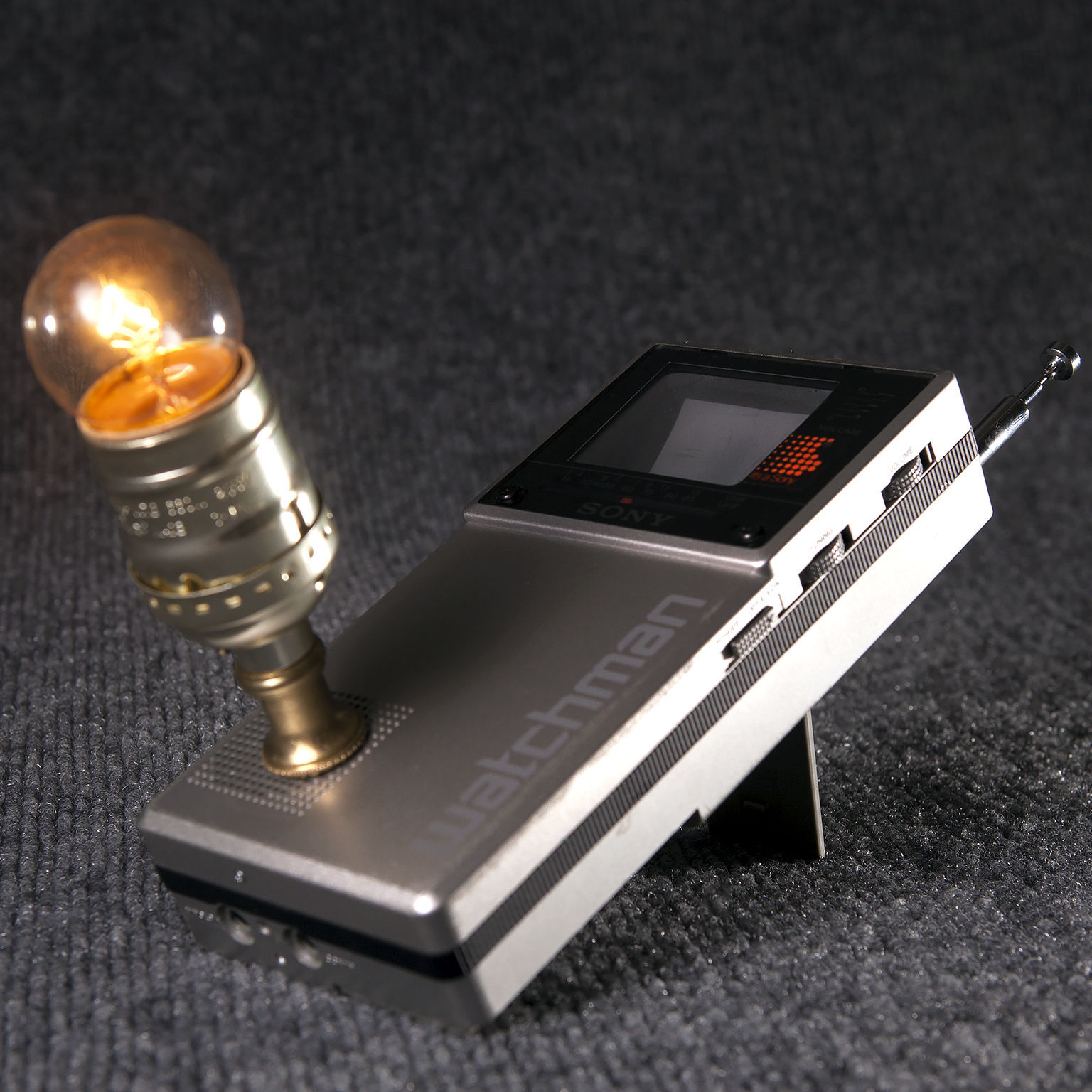 Vintage Sony Watchman Portable Television Mini Lamp - Unique Light - Free Ship