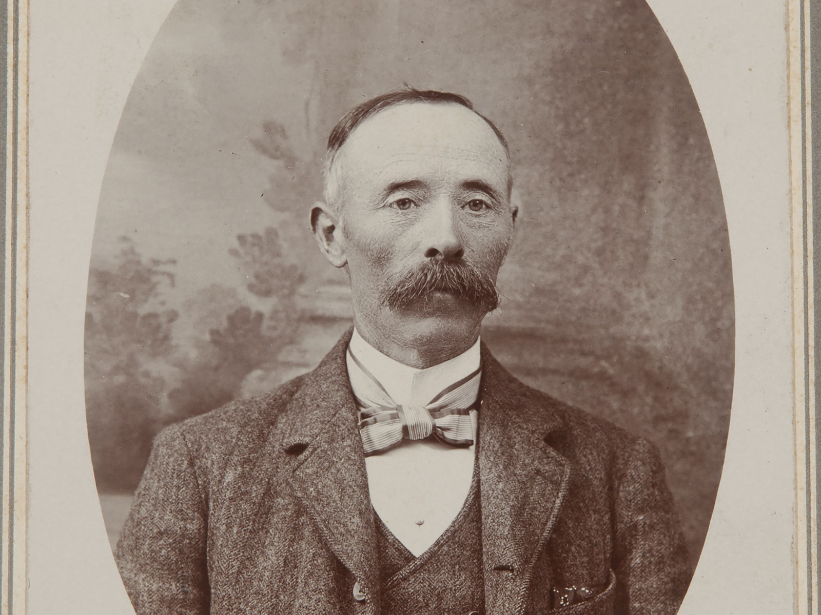 Antique Vintage Cabinet Photo of Man with Mustache - Free Shipping