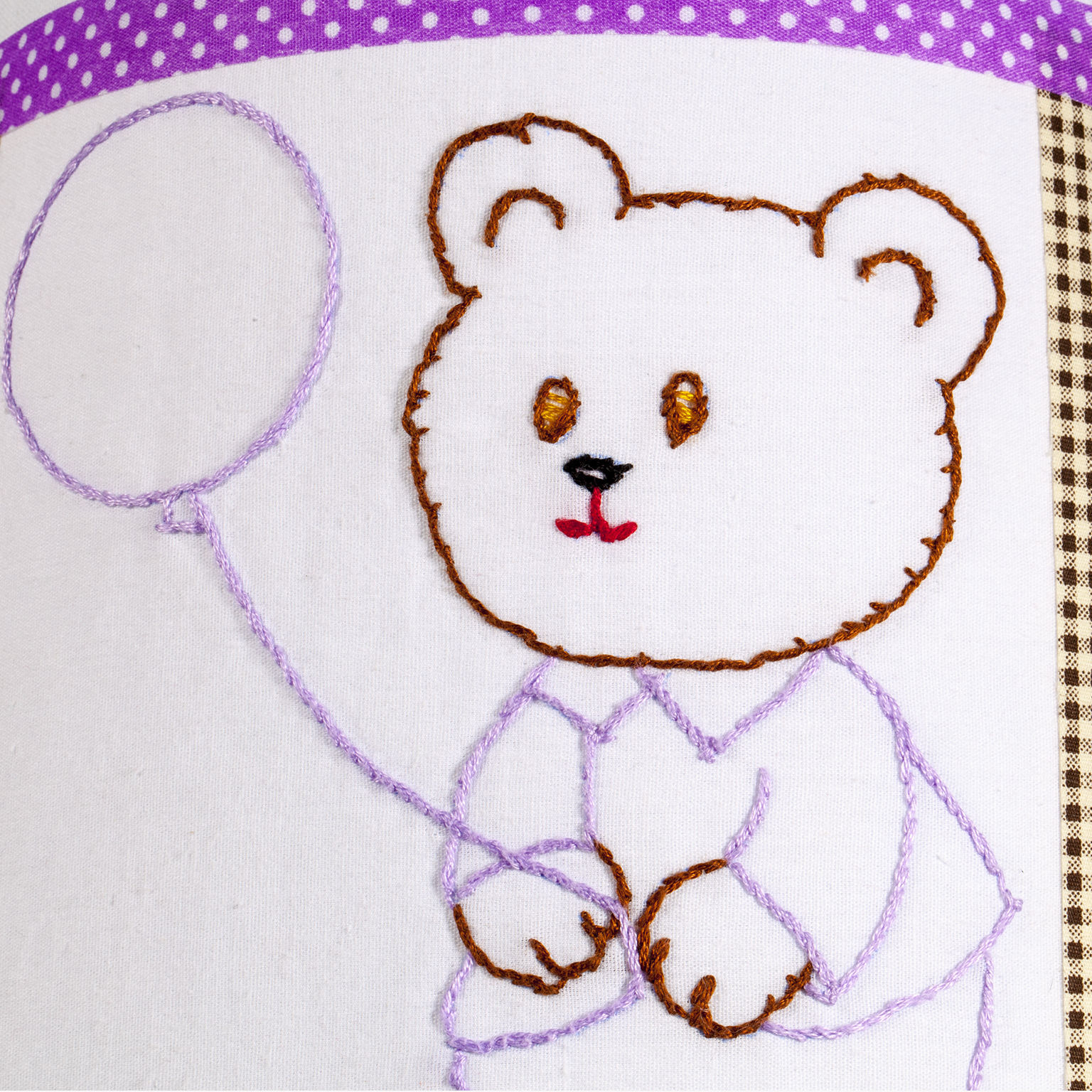 Vintage Hand Embroidered Teddy Bear Quilt Piece on New Lamp Shade - Free Shippin