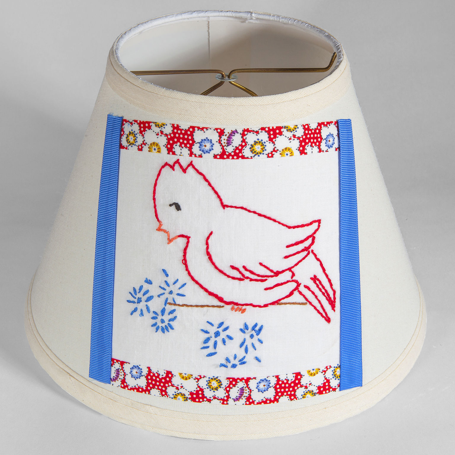 Vintage Hand Embroidered Red Bird Quilt Fabric on New Lamp Shade - Free Ship