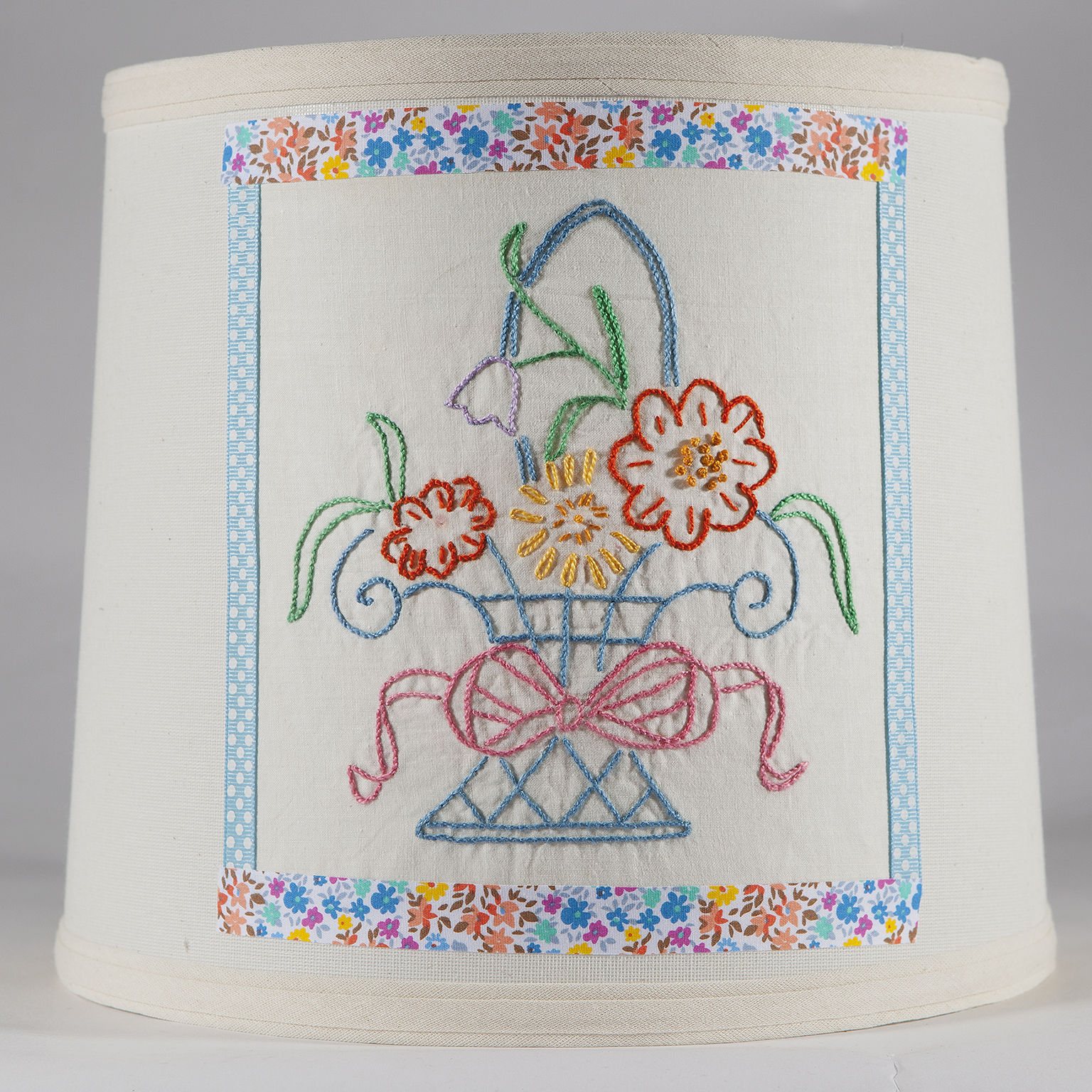 Vintage Hand Embroider Flower Basket Quilt Piece on New Lamp Shade - Free Ship
