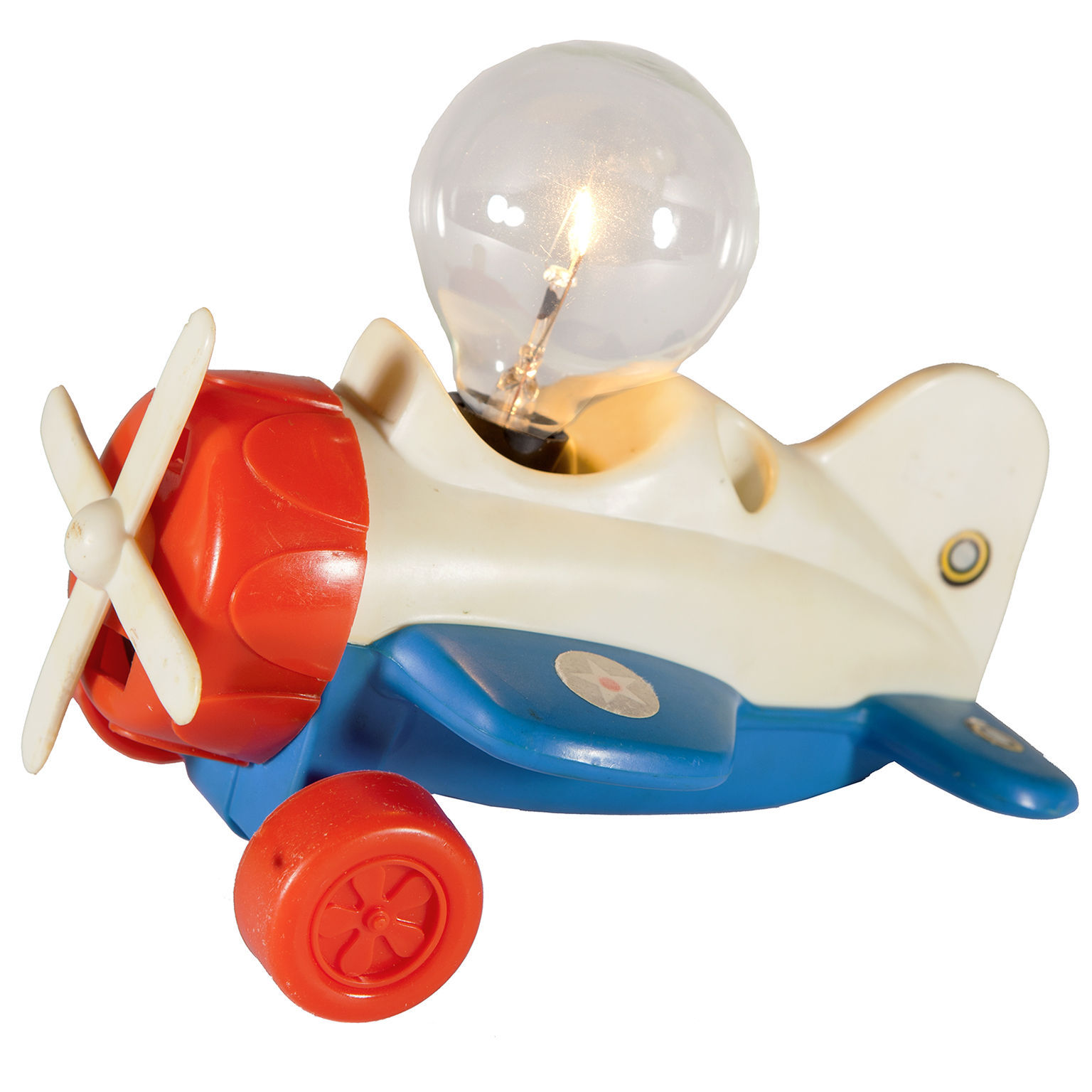 Vintage Toy Airplane Mini Lamp - Small Red Blue Plane Lamp - Free Shipping