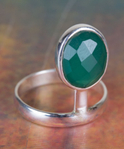 Genuie Faceted Green Onyx Gemstone Sterling Silver Ring All size BJR-457... - $14.99+