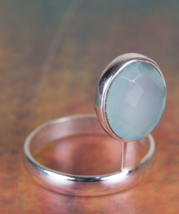 Genuie Faceted Aqua Chalcedony Gemstone Silver Ring All size BJR-457-ACC - $14.99+