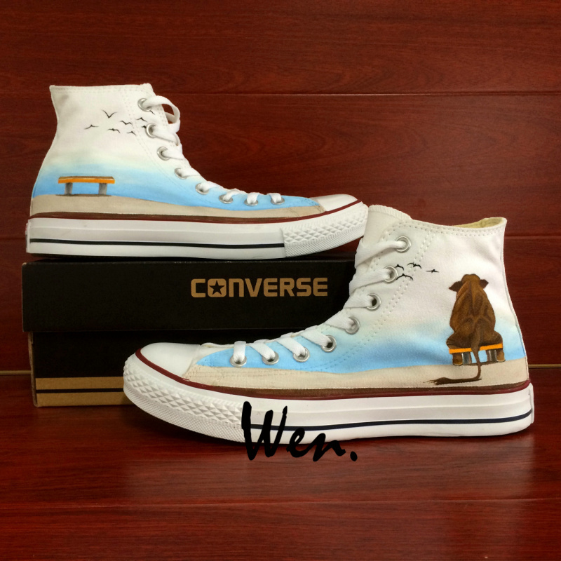 Unisex Converse All Star Elephant Seagulls Original Design Hand Painted Shoes