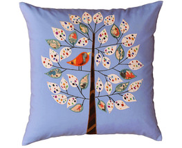 Bleu de France Tree of Life Bird Decorative Pillow Cover Cotton Applique... - €44,87 EUR