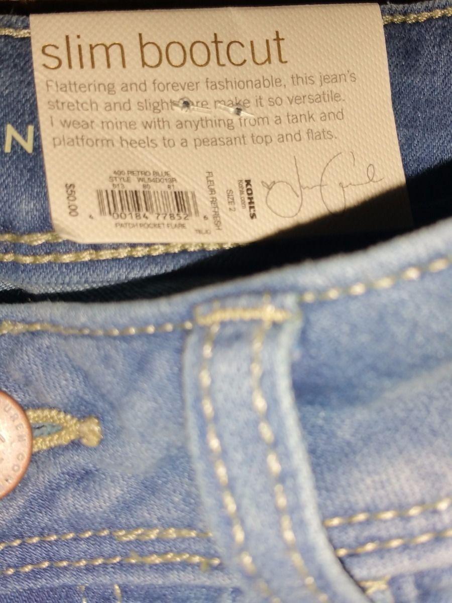 LC LAUREN CONRAD Retro Patch Pocket Flare Slim  Bootcut Jeans Fleur Stretch Blue