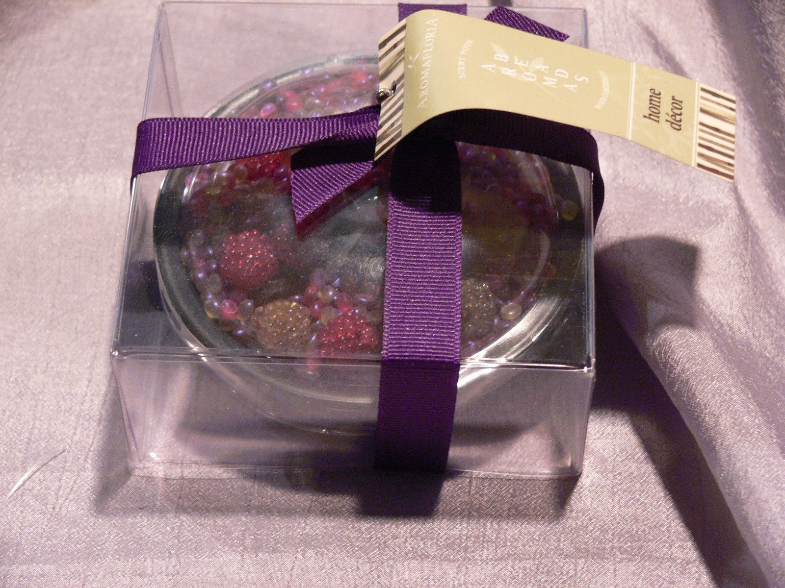 PLUMERIA AROMA BEADS IN BLACK GLASS DISH -GIFT BOXED - PURPLE - SET OF 2 -  NEW