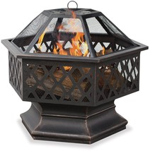 Bronze Outdoor Camping Wood Burning Fire Pit with Lattice Design - £118.84 GBP