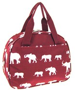 Elephant Print Insulated Lunch Bag Tote (Burgun... - $14.48