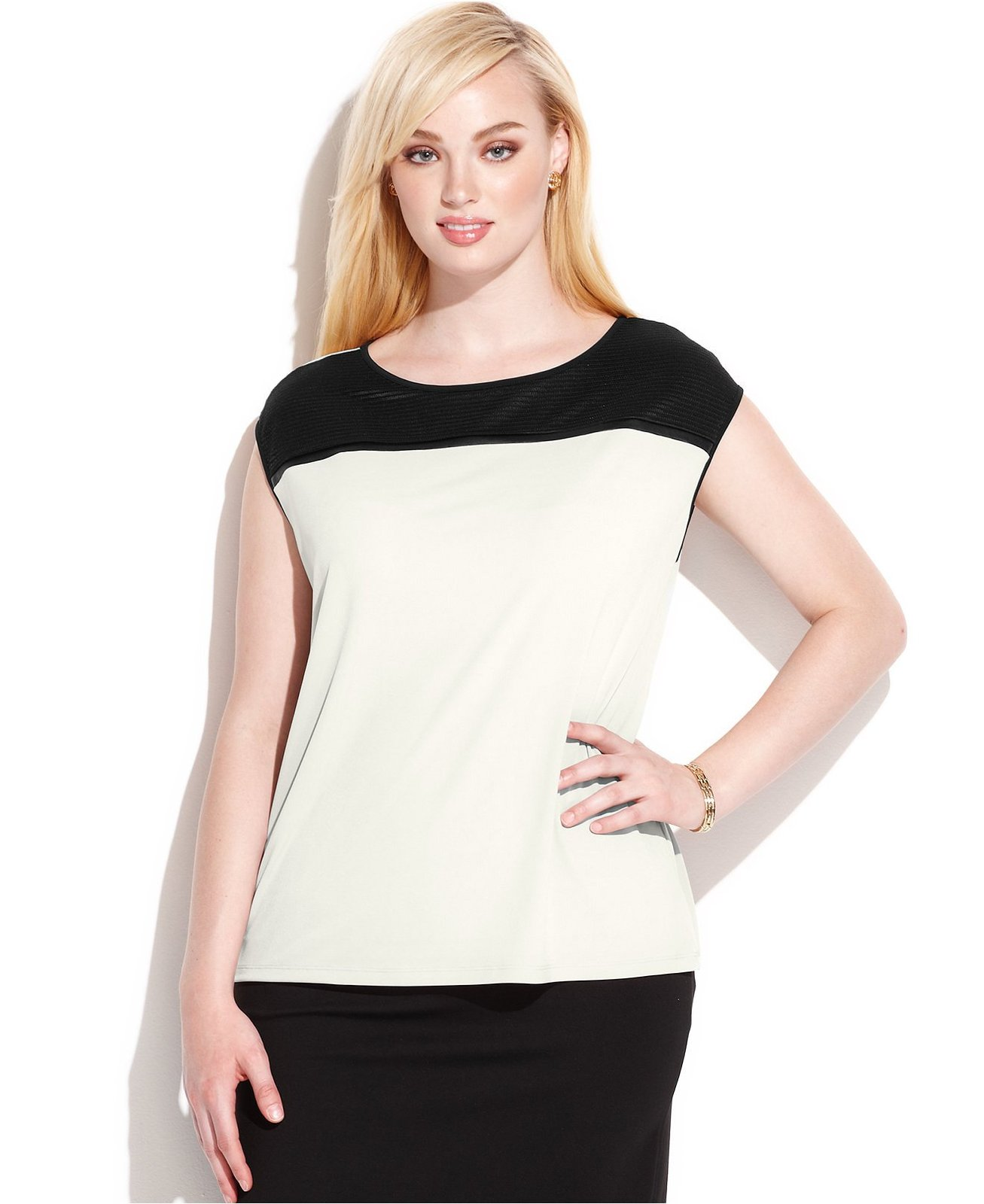 Calvin Klein Plus Size Women's Faux Leather Trim Colorblock Top (Birch/Black,...