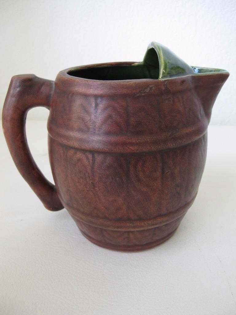 California Pottery Maxine Cloud Pitcher Vintage 40s 50s Brown Green Swedish Skol