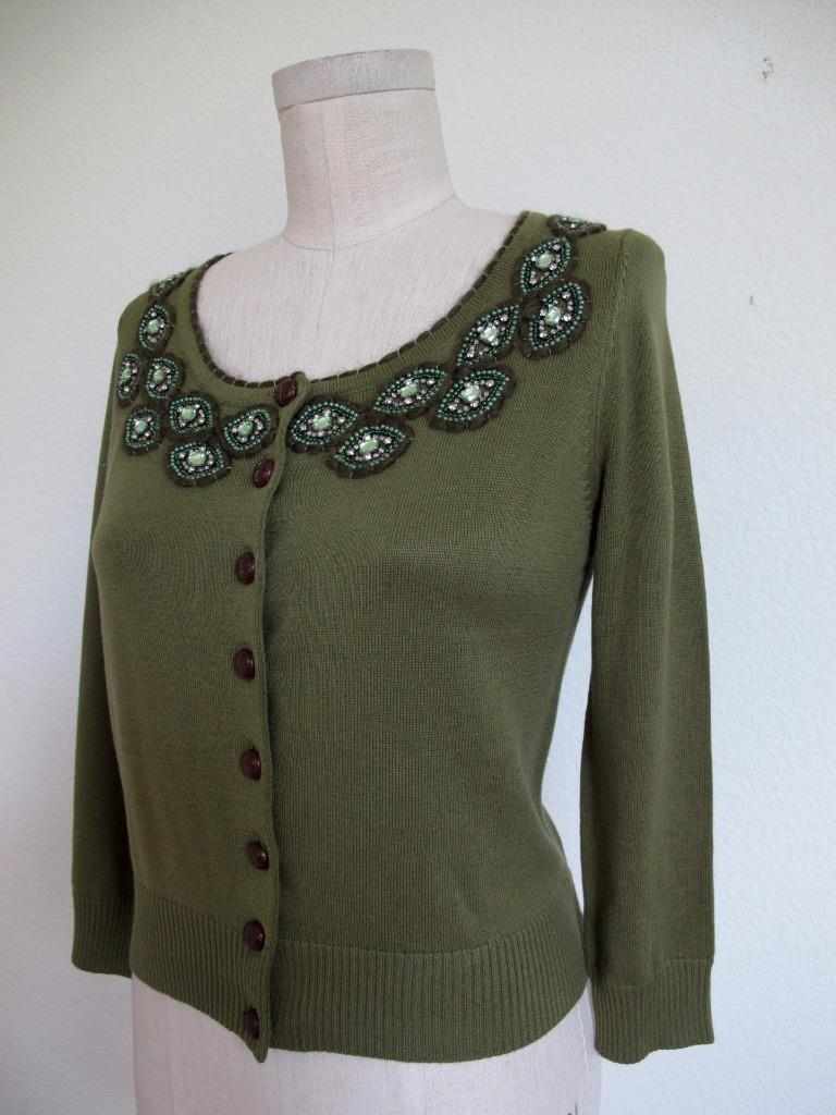NWT Knitted Dove CARDIGAN SWEATER M Artsy Rhinestones Beaded Embroidery Green
