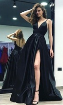 Sexy Split Side Spaghetti Straps Long Black Prom Dresses Evening  Party Dresses - $145.00
