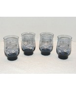 """LIBBEY BLUE SPRING CRAZY DAISY 4.5"""" TUMBLER DRINK GLASSES SET OF 4 GUC - $29.99"""