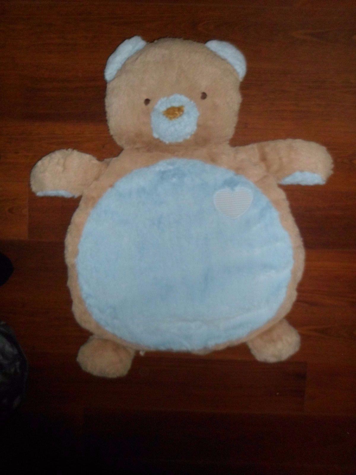 Bestever Mary Meyer Blue Tan Teddy Bear Baby Mat Nursery Plush Big Huge Blanket
