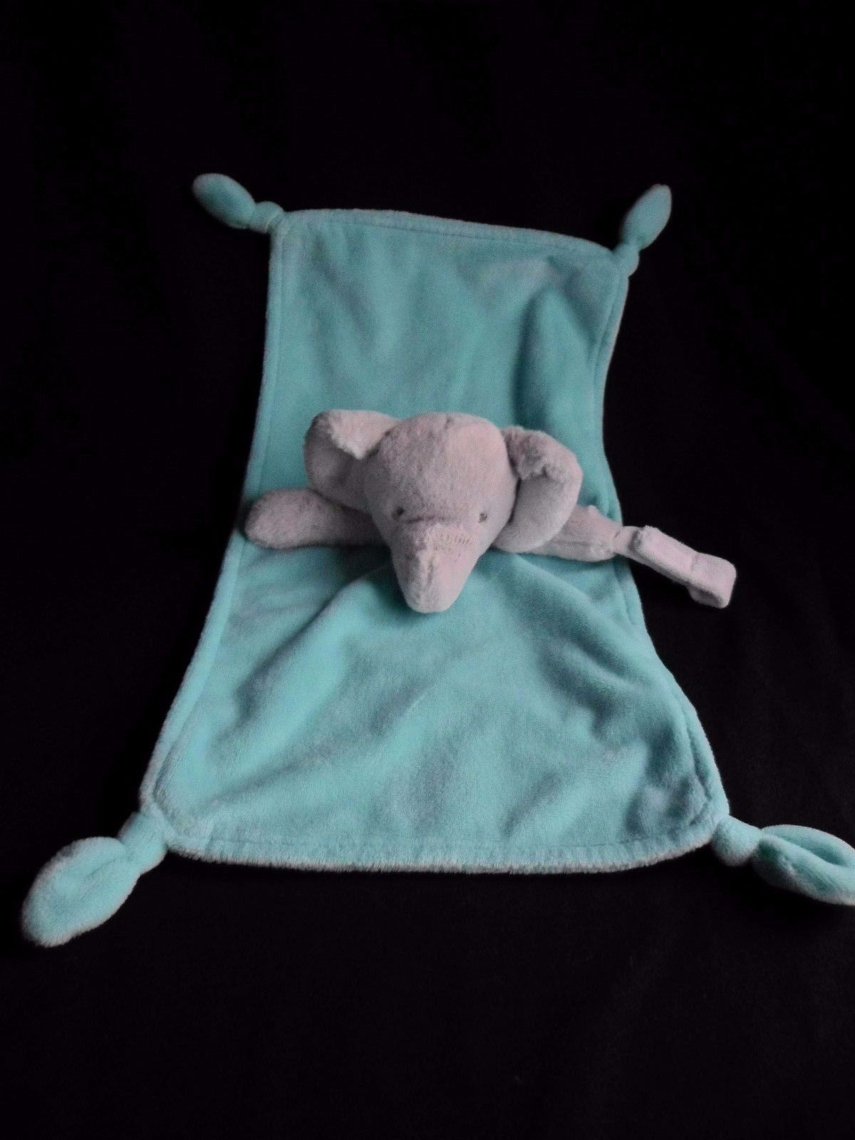 Carter's Baby Elephant security blanket with pacifier holder Aqua blue