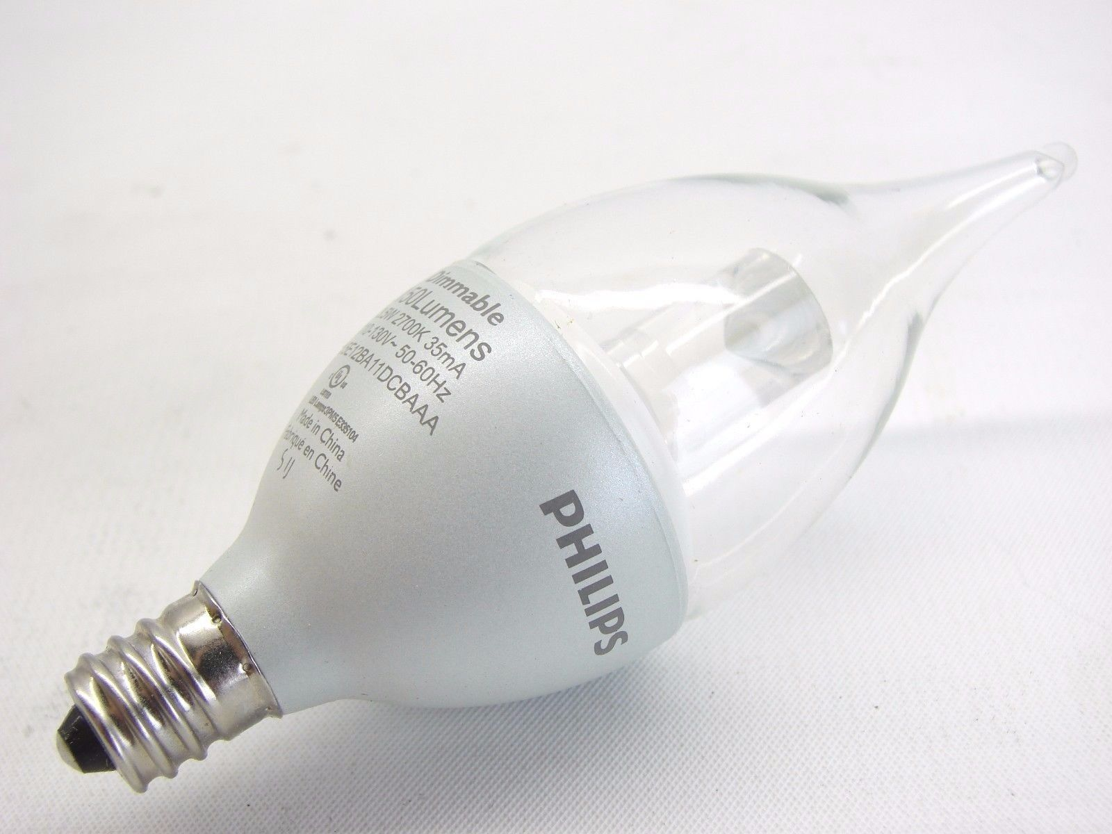 PHILIPS EnduraLED 3.5W 120V 3.5EI2BA11 Dimmable Clear Candelabra Light Bulb t14