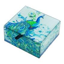 Glass Blue Paisley Peacock Keepsake Trinket Box - $39.40