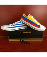Low Top Converse All Star Cuba Columbia Flag Design Hand Painted Shoes U... - $145.00