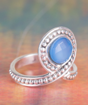 Precious Faceted Blue Chalcedony Gemstone Silver Ring All size BJR-458-BCC - $18.99+