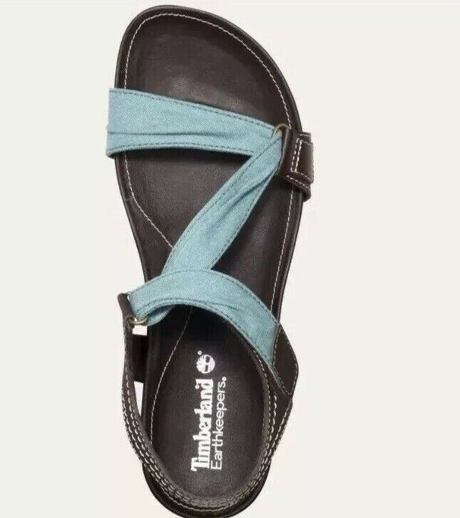 Primary image for Timberland Women's Lola Bay Brown & Teal Blue Slide Sandals Style 8208A Size 8