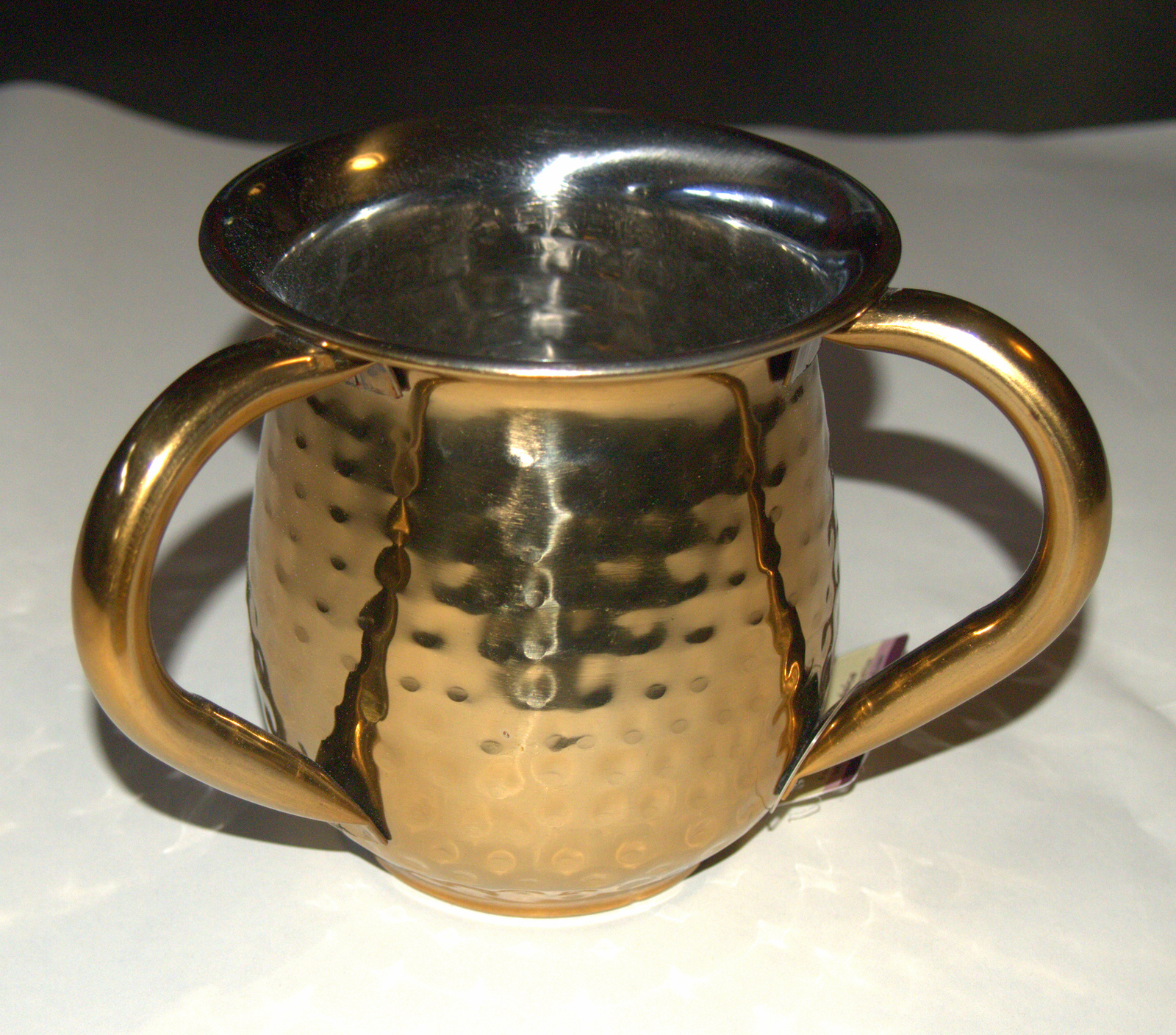 Judaica Hand Wash Cup Netilat Yadayim Last Water Stainless Steel Gold Hammered