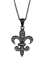 Fleur De Lis Designer Shining Necklace & White Topaz Stone 925 Sterling SHNL0076 - $32.85