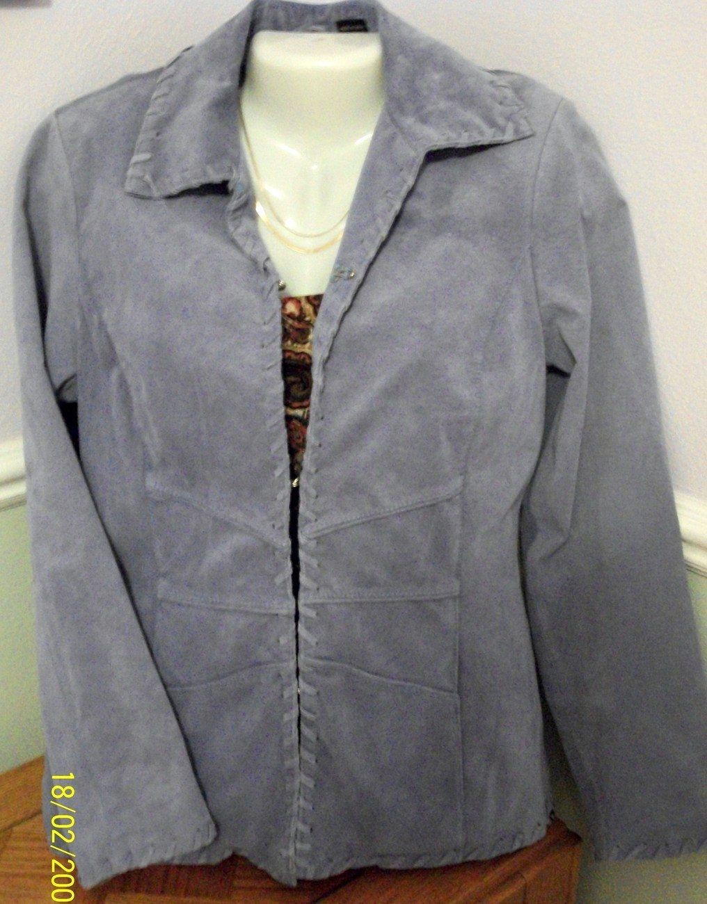 Primary image for SALE!! Dusty Blue Washable Fully Lined Suede Fitted Blazer Jacket