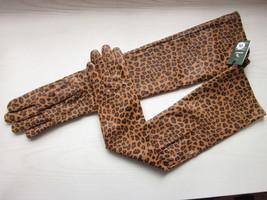 Women's 19.5 inches long,Leopard Lambskin Leather Opera Length Gloves - $39.59