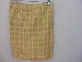 Liz Claiborne Golf Tan Orange Plaid Flat Front Linen Blend Womens Shorts... - $12.19