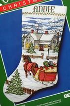 Bernat Sleigh Ride Christmas Horse Ride Snow Cross Stitch Stocking Kit 9... - $78.95
