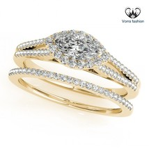 Marquise Cut White CZ Yellow Gold Plated 925 Silver Engagement Bridal Ring Set - $89.99