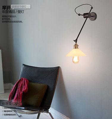 Industrial Milk Glass Filament Sconce E27 Light Wall Lamp Home Lighting Fixture