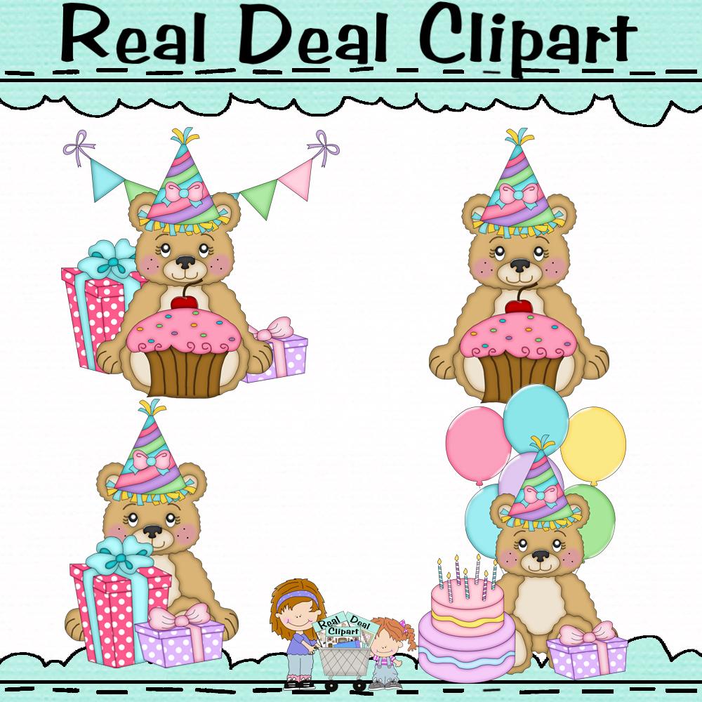 Lil bears birthday girls.clip art