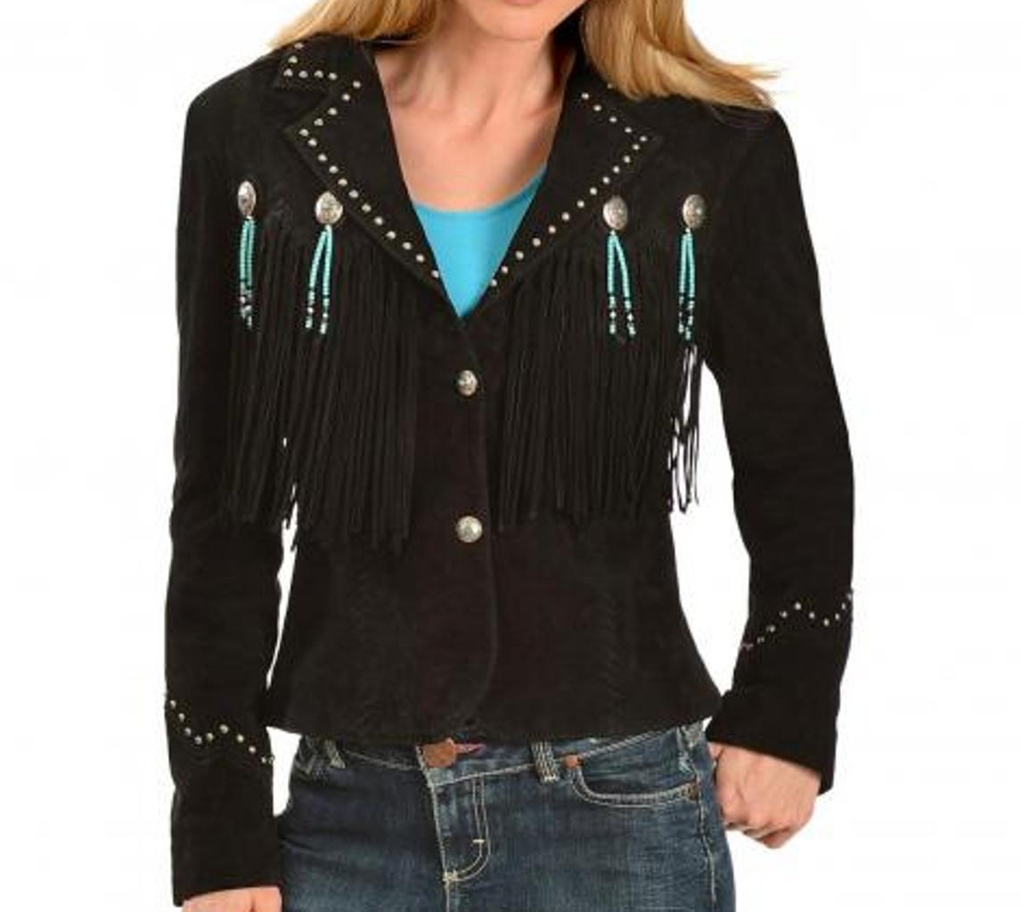 Women Western Black Suede Leather Jacket Fringe Bone and Beads Work