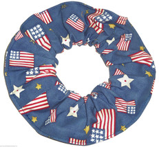 Flags Denim Blue Fabric Hair Scrunchie Scrunchies by Sherry Ponytail Holder - $6.99