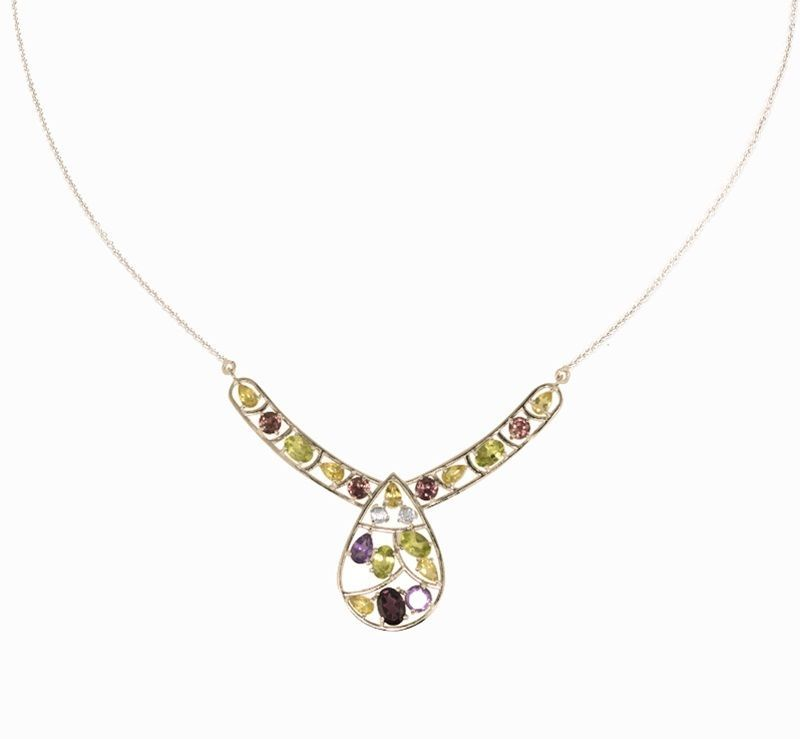 Fashionable Classic Silver Necklace with Multi Shiny Gemstone Jewelry SHNL0088