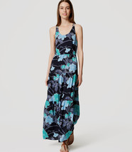 Ann Taylor LOFT Maxi Dress 4 Floral Tiered Navy... - $34.95