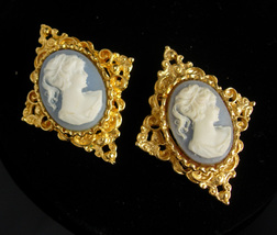 PAIR Cameo Brooch set Edwardian style Vintage mother of the Bride Gift 2... - $60.00