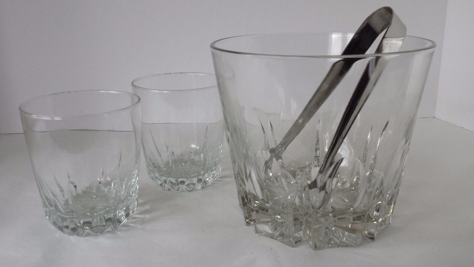 Clear Glass Ice Bucket Two Glasses and Tongs