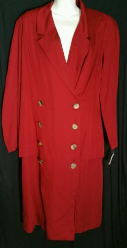 Vintage Albert Nipon Executive Talbots Dress 14 12 Red Lined Suit Talbot's NWT