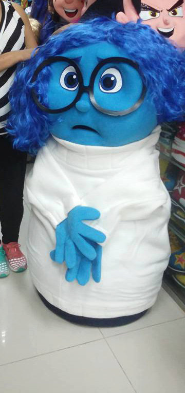 Inside Out Sadness Mascot Costume Adult Character Costume