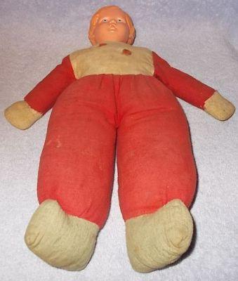 Vintage Antique Celluloid Face Cloth Body Dutch Boy Doll 12 inch