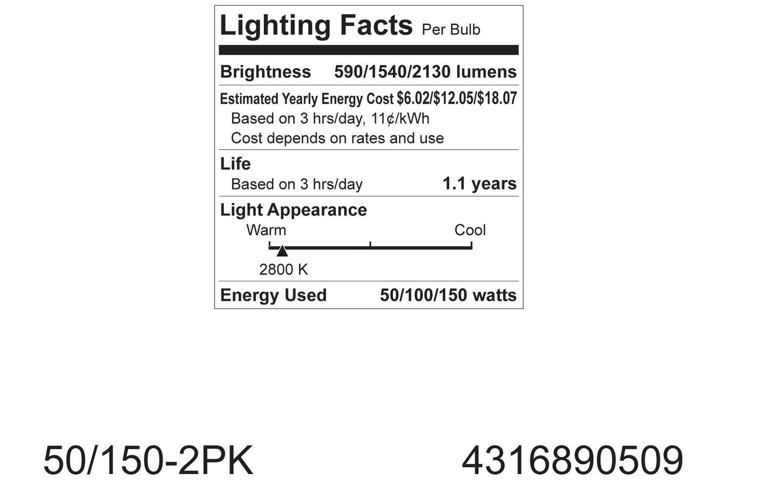 GE Lighting 97763 50/100/150-Watt 615/1540/2155-Lumen A21 3-Way Light Bulb, S...
