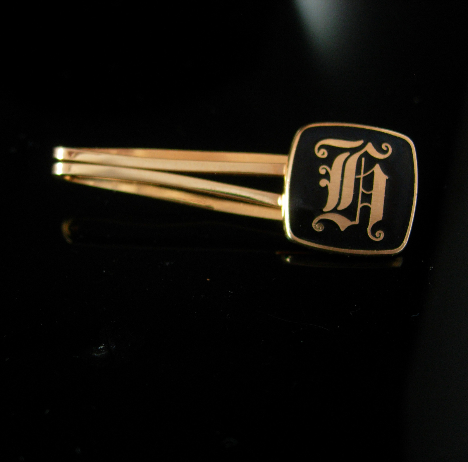 Script Monogrammed Tieclip Initial H Letters Vintage Black gold Gothic Business