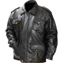 Giovanni Navarre® Black Genuine Leather Mens  Field Jacket  MED-2XL - $37.50